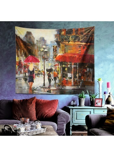 Eponj Home Tapestry Duvar Örtüsü 70x90 cm CafeParis Kırmızı Kırmızı